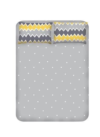 EnLora Home Enlora %100 Doğal Pamuk Çarşaf+Yastık Seti Çift Kişilik Zigros Sarı